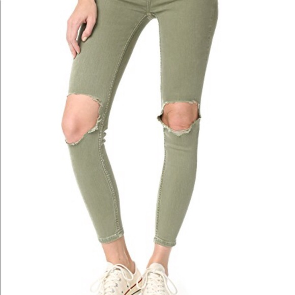 Free People Denim - NWT Free People moss colored skinny jean